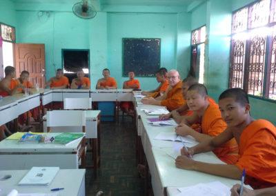Teaching English to novice at Wat Sriboonruang